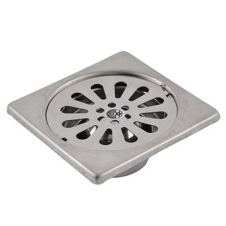 Kitchen Bath Stainless Steel Square Sink Floor Drain Outlet Strainer Silver Tone