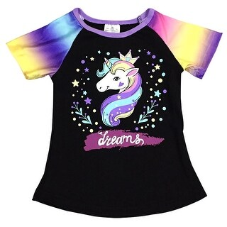 Unicorn Print Black Tee T-Shirt Top for Little Girl Rainbow 201487
