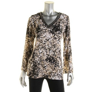 Status by Chenault Womens Beaded V Neck Casual Top - S