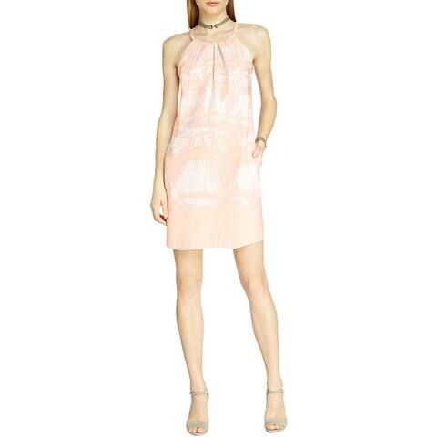 Halston Heritage Womens Mini Dress Sequined Printed - Glow Feather Print - XL