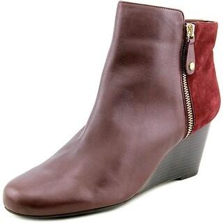 Isaac Mizrahi Kierra Women Round Toe Leather Burgundy Bootie