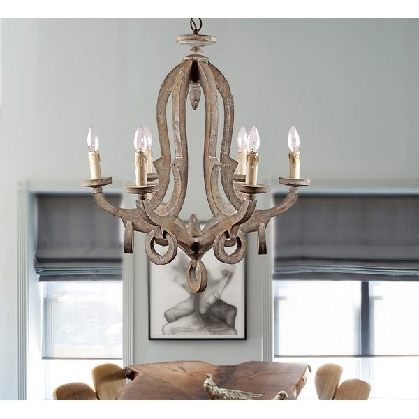Rustic Distressed Wood 6-Light Candle-style Chandelier. Opens flyout.