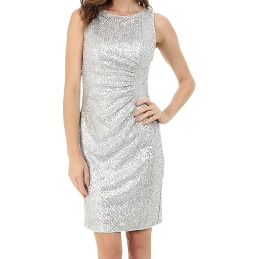1388dfcd46216d Shop Calvin Klein NEW Silver Womens Size 12 Ruched Metallic Sheath Dress -  Free Shipping On Orders Over $45 - Overstock - 18292357