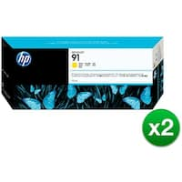 HP 91 775-ml Yellow DesignJet Pigment Ink Cartridge (C9469A) (2-Pack)