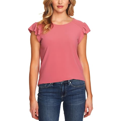 CeCe Womens Pullover Top Smocked Flutter Sleeve