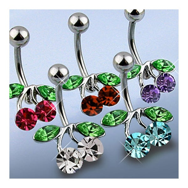 "316L Steel Navel Belly Button Ring with Rodium Plated Brass CZ Set Cherry - 14GA 3/8"" Long (Sold Ind.)"