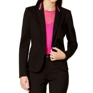 Anne Klein NEW Black Pink Womens Size 10 One-Button Stripe Trim Jacket