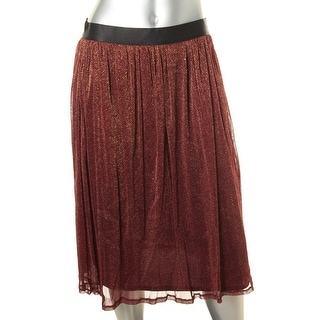 NY Collection Womens Metallic Pull On A-Line Skirt