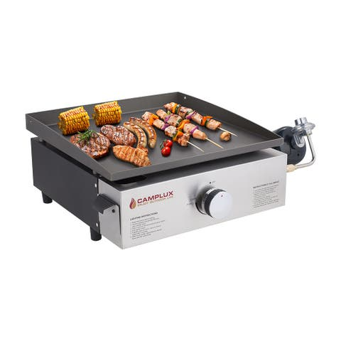 Camplux Propane Gas Griddle Grill, 13,000 BTU Portable Outdoor Griddle, Tabletop Griddle with 1 lb LP Connector for Cooking