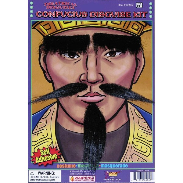 Confucius Eyebrows, Moustache & Beard Costume Accessory Set - Black
