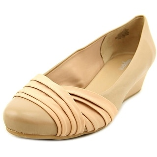Easy Spirit Dayna Women Open Toe Leather Nude Wedge Heel
