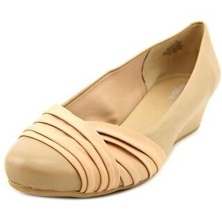Easy Spirit Dayna Women W Open Toe Leather Nude Wedge Heel