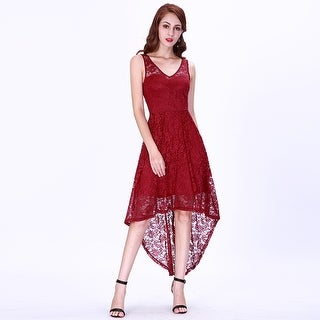 Ever-Pretty Women's High-Low Sleeveless Floral Lace Evening Cocktail Party Dress 03063