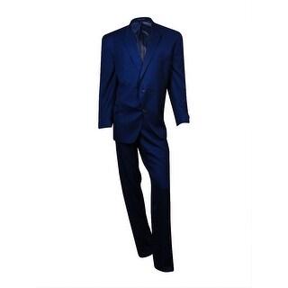 Sean John Men's Tonal Pin-Dot Peaked Suit (54R 50W, Navy)