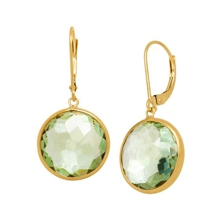 13 ct Green Amethyst Drop Earrings in 14K Gold
