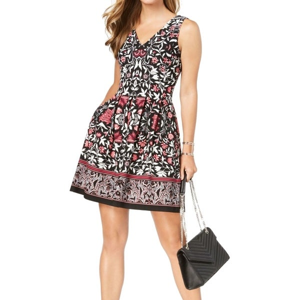 Vince Camuto Womens Dress Black Size 12 A-Line V-Neck Floral Print. Opens flyout.