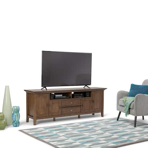 Wyndenhall Mansfield SOLID WOOD 72 inch Wide Rustic TV Media Stand For TVs up to 80 inches - 72'' W x 16.5'' D x 26'' H