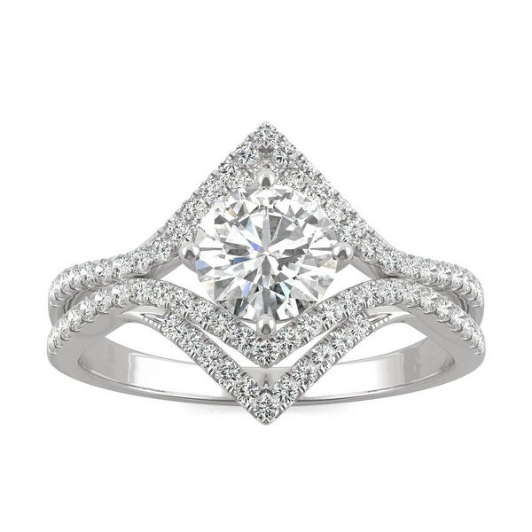Moissanite by Charles & Colvard 14k White Gold 1.22 DEW Geometric Halo Ring. Opens flyout.