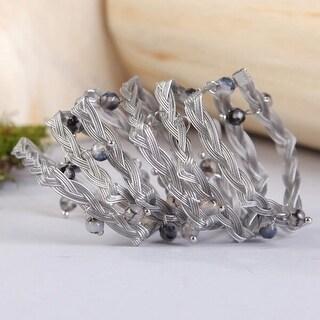 Mad Style Silver Braided Wrap Bracelet W/Stones
