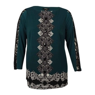 Style & Co Women's Print Lace Rhinestoned Tunic Blouse - 2x