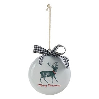 """Link to 4.5"""" White and Black Reindeer """"Merry Christmas"""" Disc Ornament Similar Items in Christmas Decorations"""