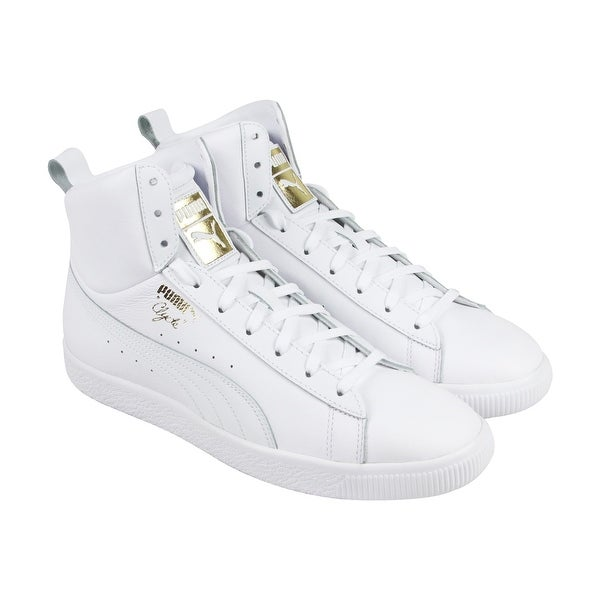 new arrivals b5b81 1fd4c Shop Puma Clyde Mid Core Foil Mens White Leather High Top ...