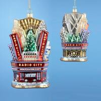 "Pack of 6 NYC Radio City Music Hall Rockettes Glass Christmas Ornaments 5"" - silver"