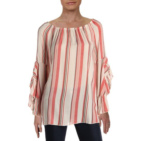 Fever Womens Blouse Striped Off-The-Shoulder