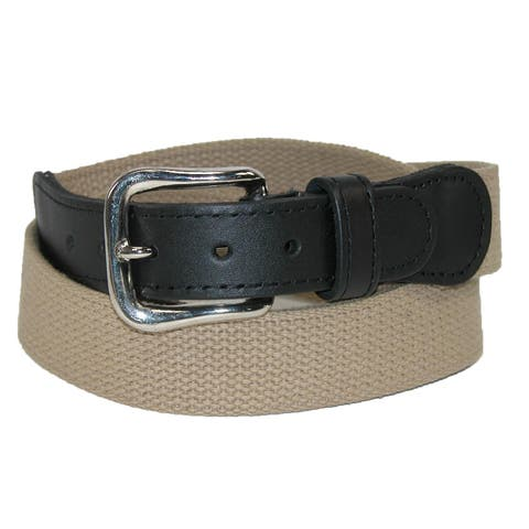 Boston Leather Men's Big & Tall Cotton Fabric Belt with Leather Tabs
