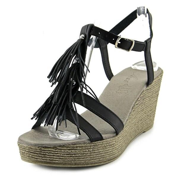Azura Romance Women Open Toe Leather Black Wedge Sandal