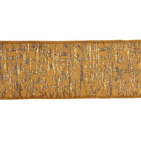 Set of 4 Gold and Gray Geometric Pattern Ribbon 30'