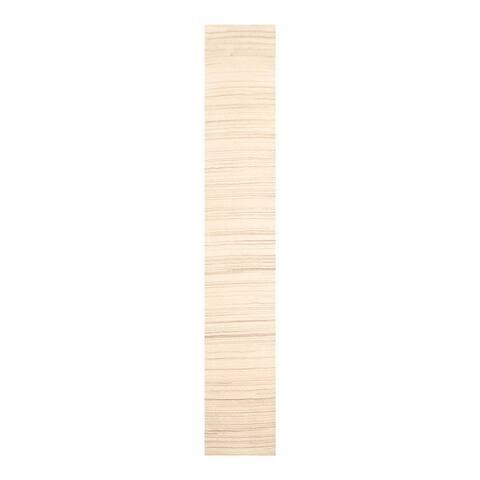 Hand Knotted Ivory Tibetan Wool Modern Oriental Area Rug (Runner) - 2' 3'' x 11' 5''
