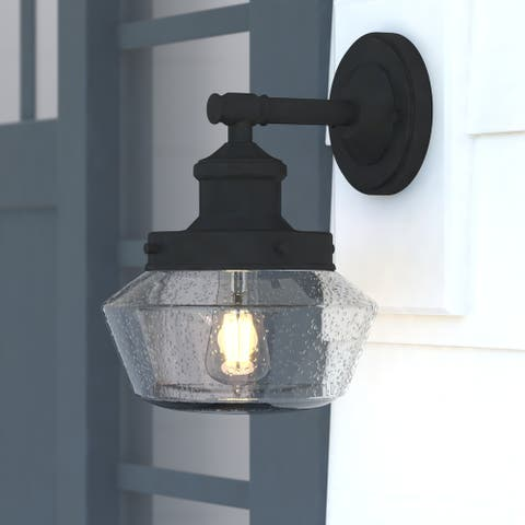 Collins Black Clear Glass Outdoor 1-light Wall Lantern