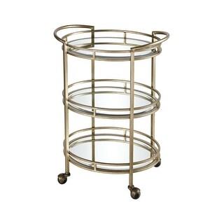 "Dimond Home 1114-317 Flourish 24 "" Wide Metal Frame Bar Cart with Mirrored Shelves - Gold - N/A"