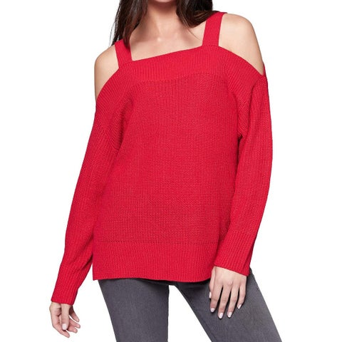 Sanctuary Red Women's Size Medium M Cold Shoulder Knitted Sweater