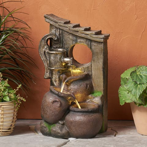 Adrian Outdoor Tier Jar Fountain Outdoor 3 by Christopher Knight Home