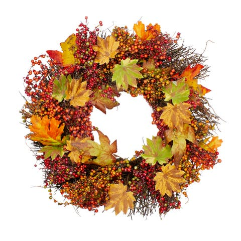 Autumn Harvest Maple Leaf, Berry and Twig Artificial Wreath - 22-Inch, Unlit