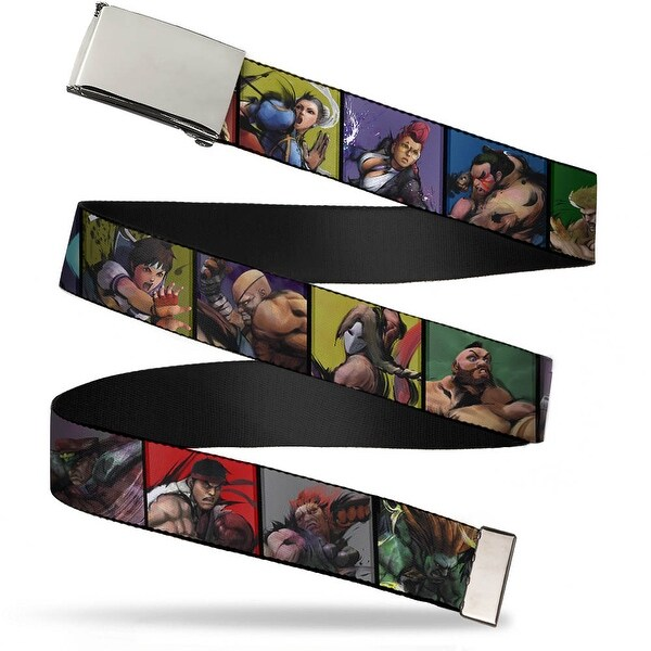 Blank Chrome Buckle Street Fighter 15 Character Pose Blocks Webbing Web Belt