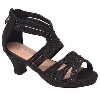 Girls Black Stone Adorned Strappy Back Zipper Heeled Sandals