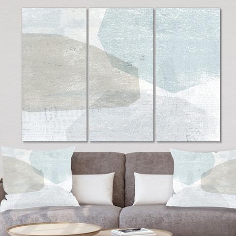 Designart 'Grey and White Collage I' Modern Canvas Wall Art