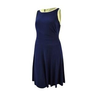 Lauren Ralph Lauren Women's Colorblocked Top Sleeveless Dress (14W, Navy/Yellow) - Navy/Yellow - 14W
