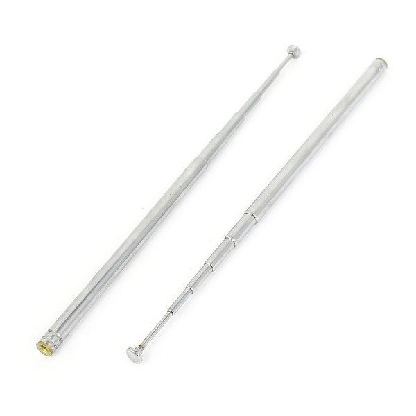 Unique Bargains FM Radio TV Stereo VCD 6 Sections Telescopic Antenna Aerial 480mm 2PCS