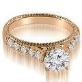 2.00 cttw. 14K Rose Gold Vintage Cathedral Round Cut Diamond Bridal Set - Thumbnail 1