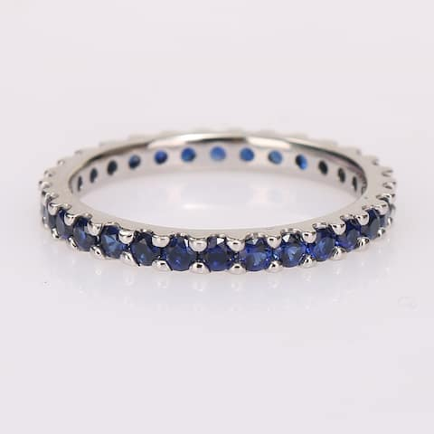 Miadora 10k White Gold Created Blue Sapphire Stackable Eternity Wedding Band Ring