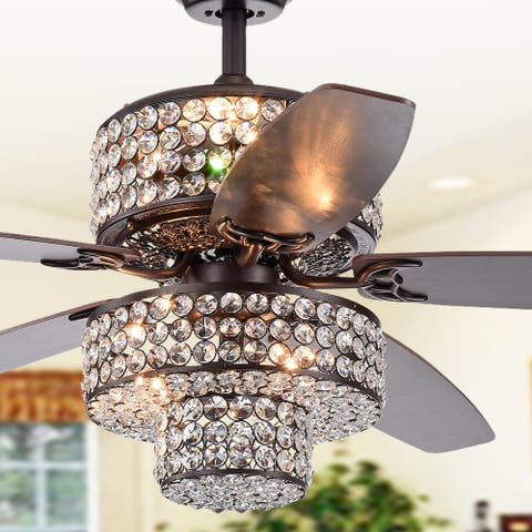 Tierna 5-Blade 52-Inch Rustic Bronze Lighted Ceiling Fans Two-Tiered Crystal Shade Optional Remote (incl 2 Color Option Blades)