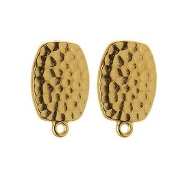 TierraCast 22K Gold Plated Hammered Pewter Clip On Earrings 20mm 1 Pair
