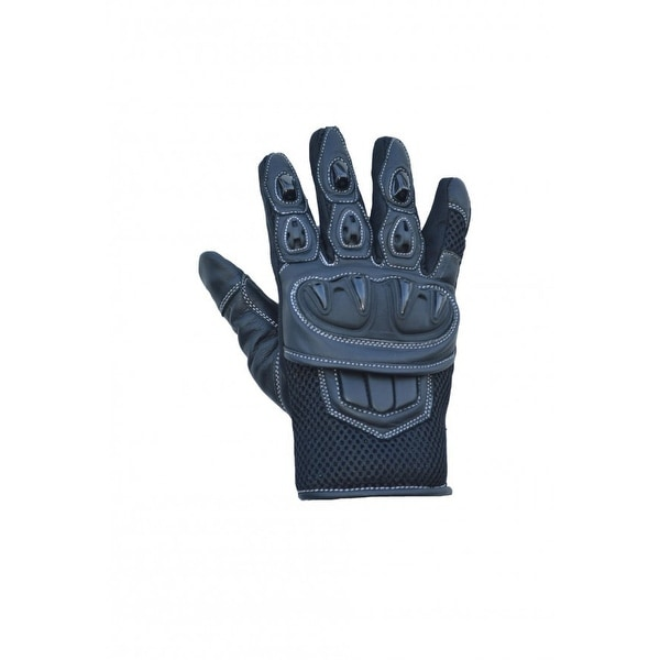 Leather Motorcycle Biker Protective Short Cuff Riding/Cruising Gloves Black MG2