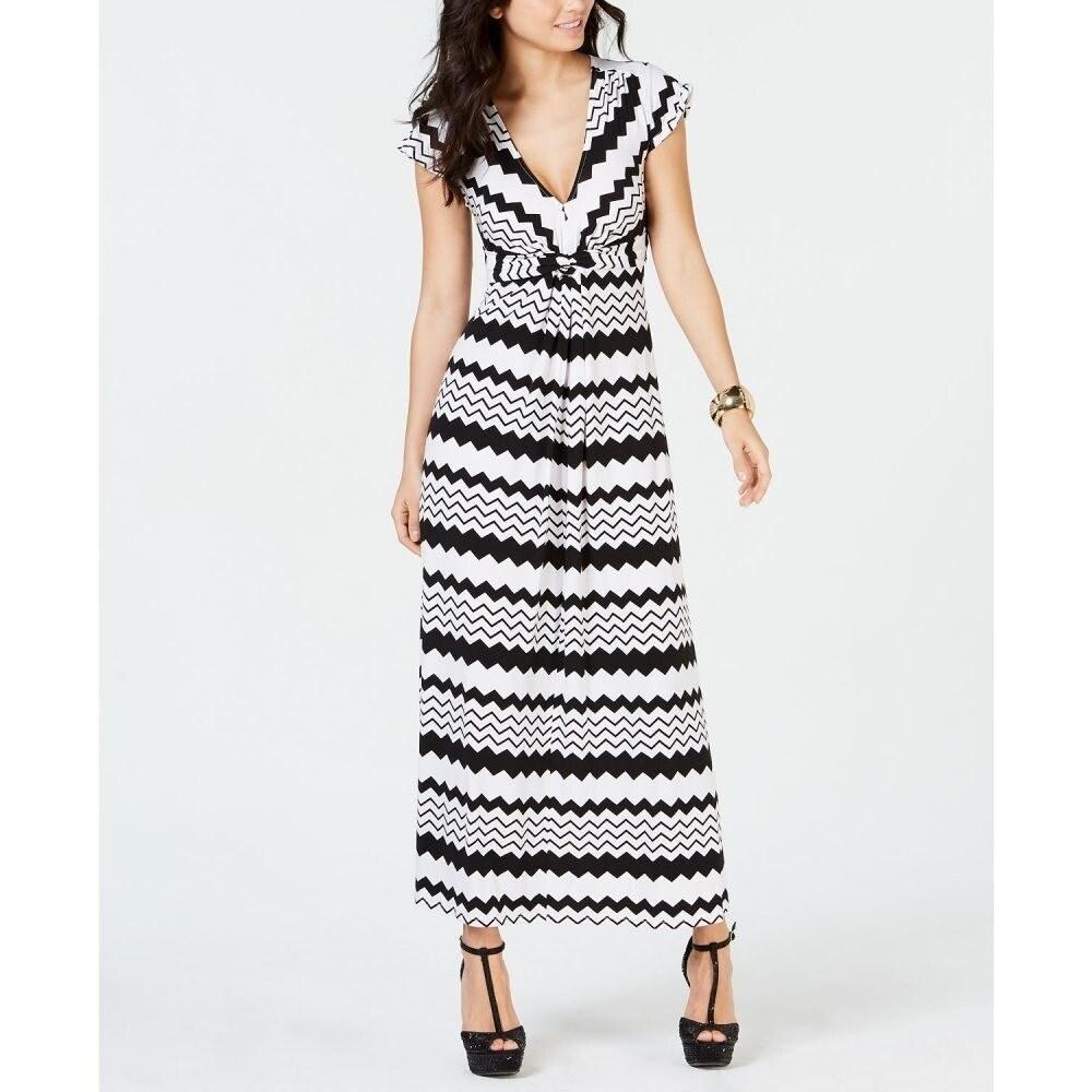 Thalia Sodi Womens Printed Maxi Dress Black/White Size Medium - White