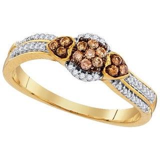 1/4Ctw Cognac Diamond Micro-Pave Ring - White