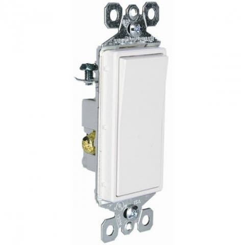 Pass & Seymour TM873WCC10 TradeMaster 3-Way Decorator Switch, White, 15A